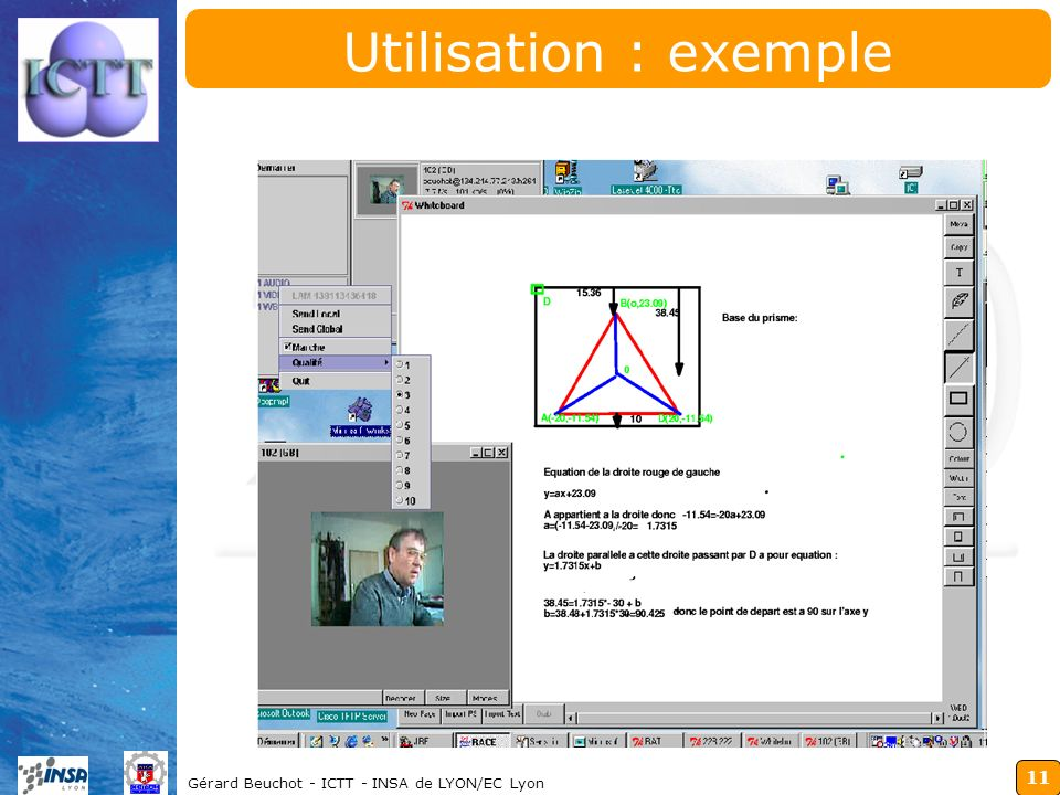 Utilisation : exemple Gérard Beuchot - ICTT - INSA de LYON/EC Lyon