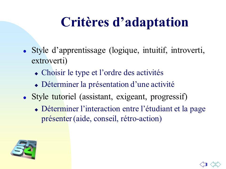 Critères d'adaptation