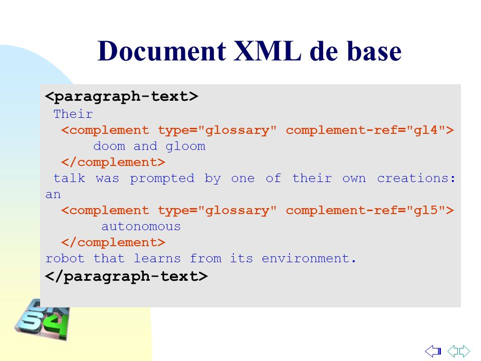 Document XML de base <paragraph-text> </paragraph-text>