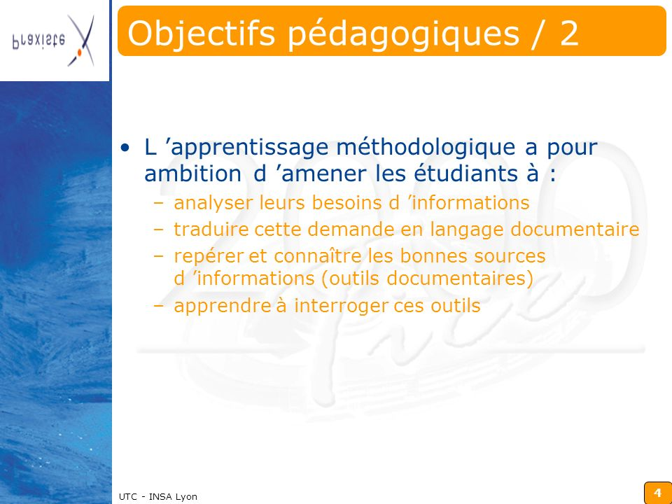 Objectifs pédagogiques / 2