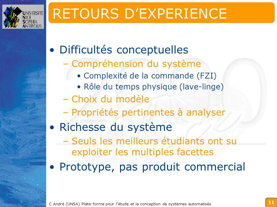 RETOURS D'EXPERIENCE Difficultés conceptuelles Richesse du système