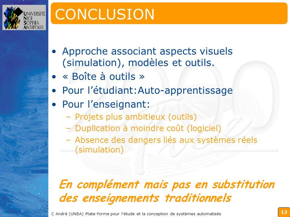 CONCLUSION Approche associant aspects visuels (simulation), modèles et outils. « Boîte à outils » Pour l'étudiant:Auto-apprentissage.