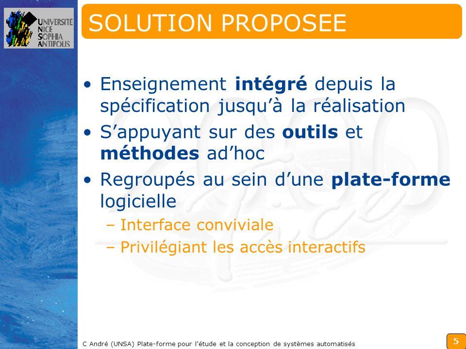 SOLUTION PROPOSEE Enseignement intégré depuis la spécification jusqu'à la réalisation. S'appuyant sur des outils et méthodes ad'hoc.