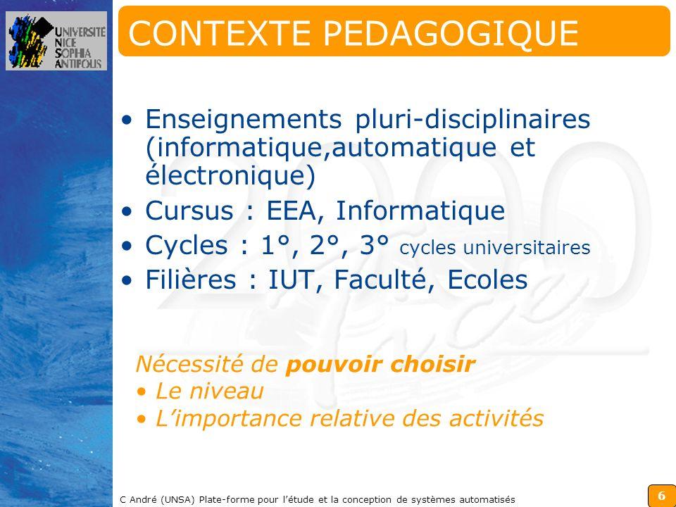 CONTEXTE PEDAGOGIQUE Enseignements pluri-disciplinaires (informatique,automatique et électronique) Cursus : EEA, Informatique.