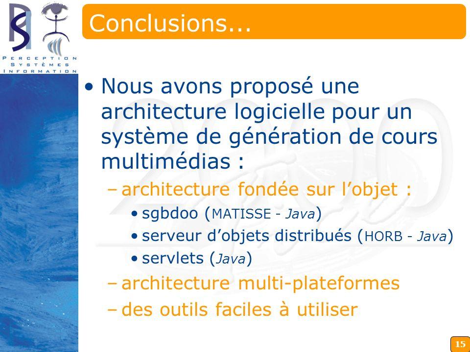 Conclusions... Nous avons proposé une architecture logicielle pour un système de génération de cours multimédias :