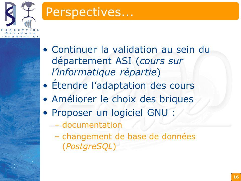 Perspectives... Continuer la validation au sein du département ASI (cours sur l'informatique répartie)