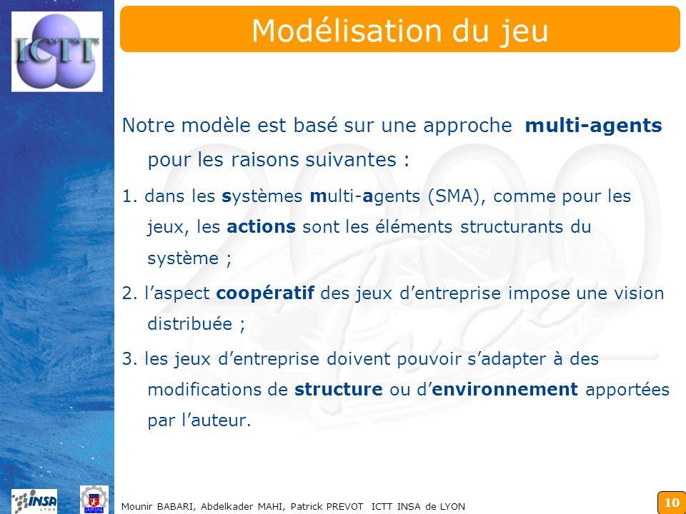 Modélisation du jeu Notre modèle est basé sur une approche multi-agents pour les raisons suivantes :
