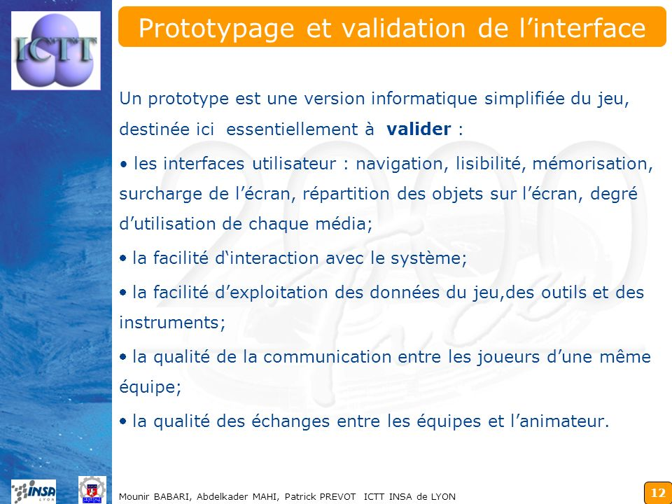 Prototypage et validation de l'interface