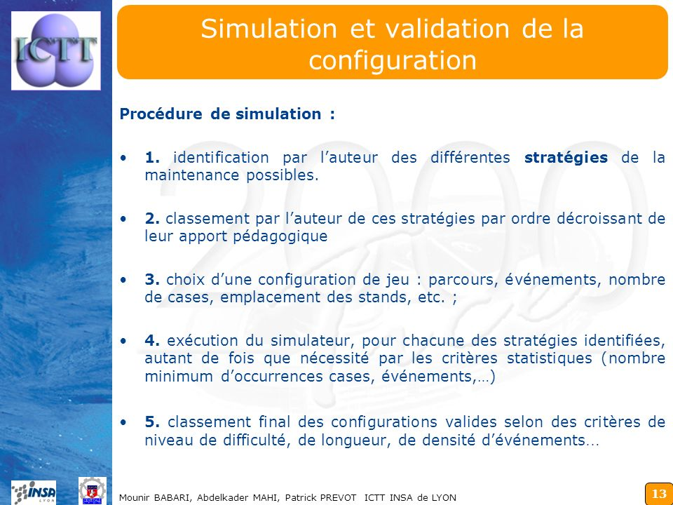 Simulation et validation de la configuration