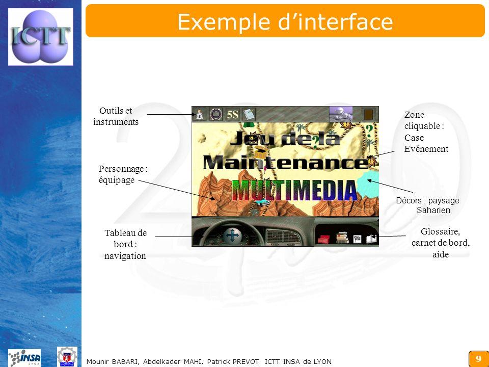 Exemple d'interface Outils et instruments Zone cliquable :