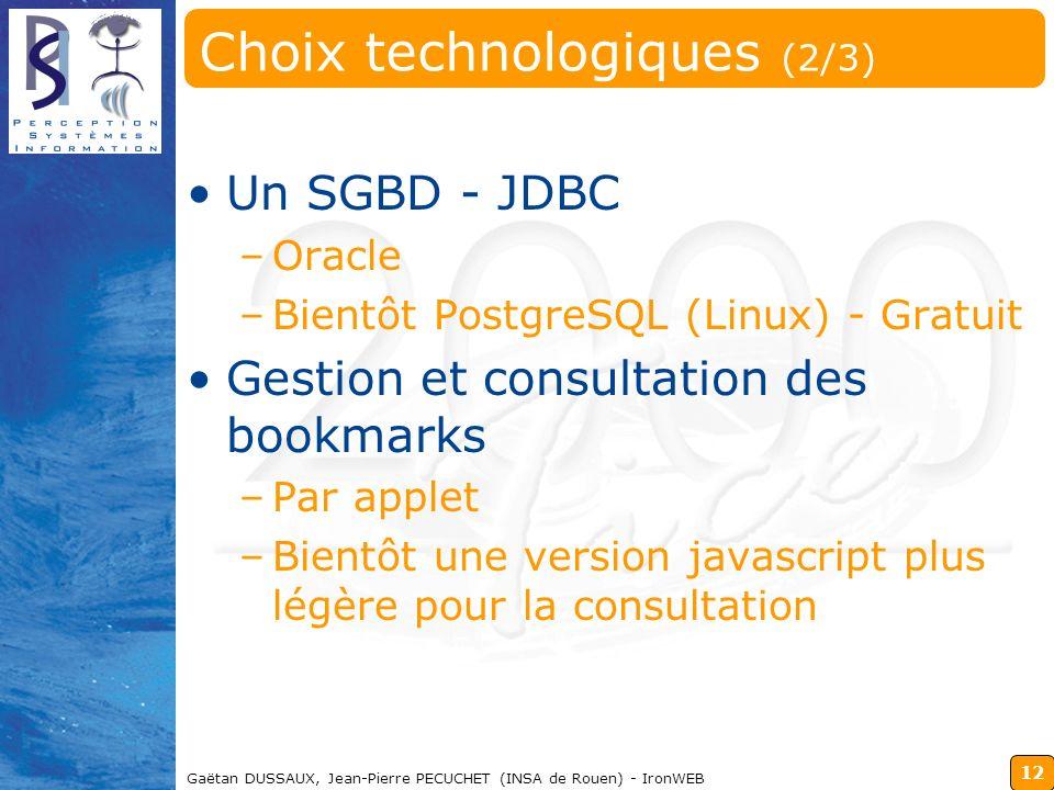 Choix technologiques (2/3)
