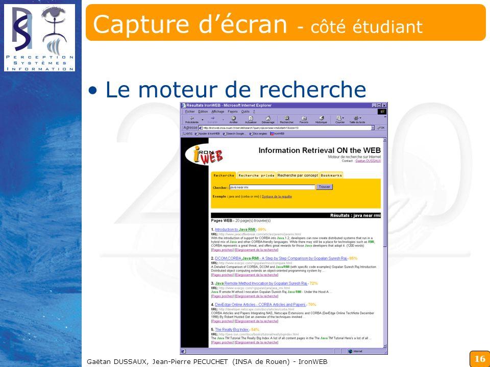 Capture d'écran - côté étudiant
