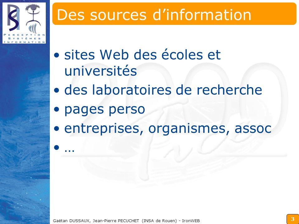 Des sources d'information