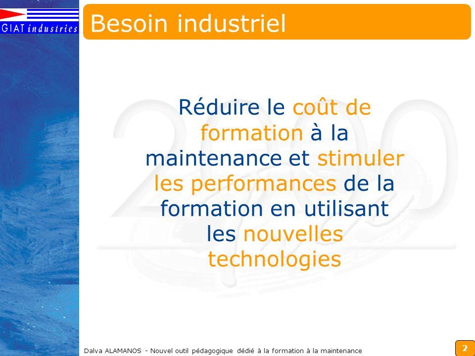 Besoin industriel Réduire le coût de formation à la maintenance et stimuler les performances de la formation en utilisant les nouvelles technologies.