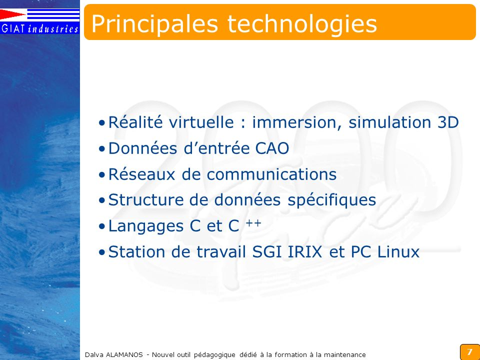 Principales technologies