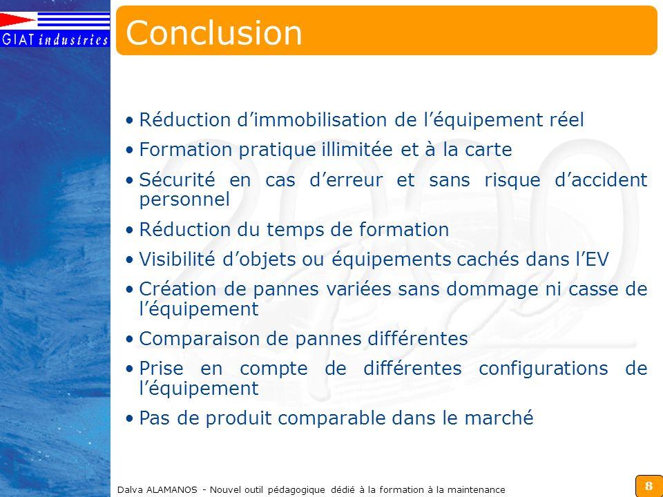 Conclusion Réduction d'immobilisation de l'équipement réel