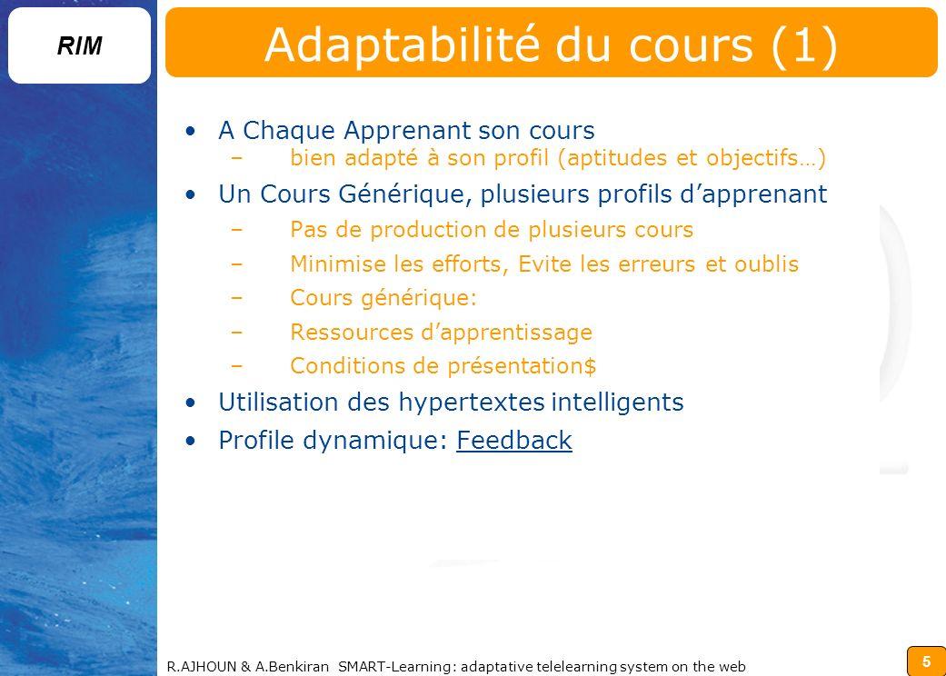 Adaptabilité du cours (1)