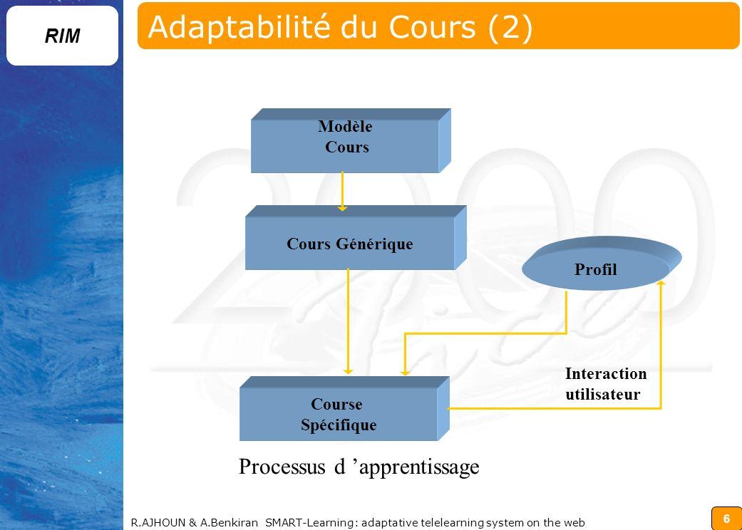 Adaptabilité du Cours (2)