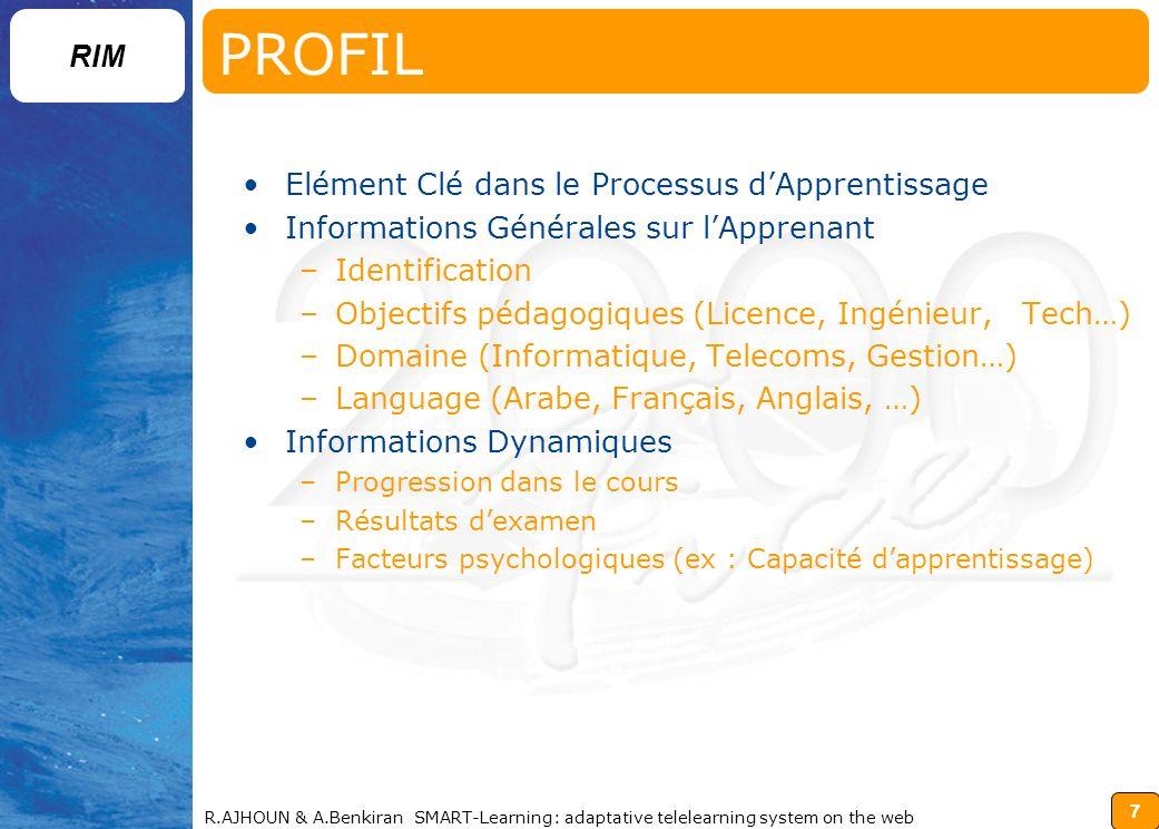 PROFIL Elément Clé dans le Processus d'Apprentissage