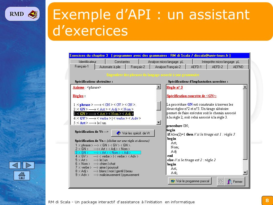 Exemple d'API : un assistant d'exercices