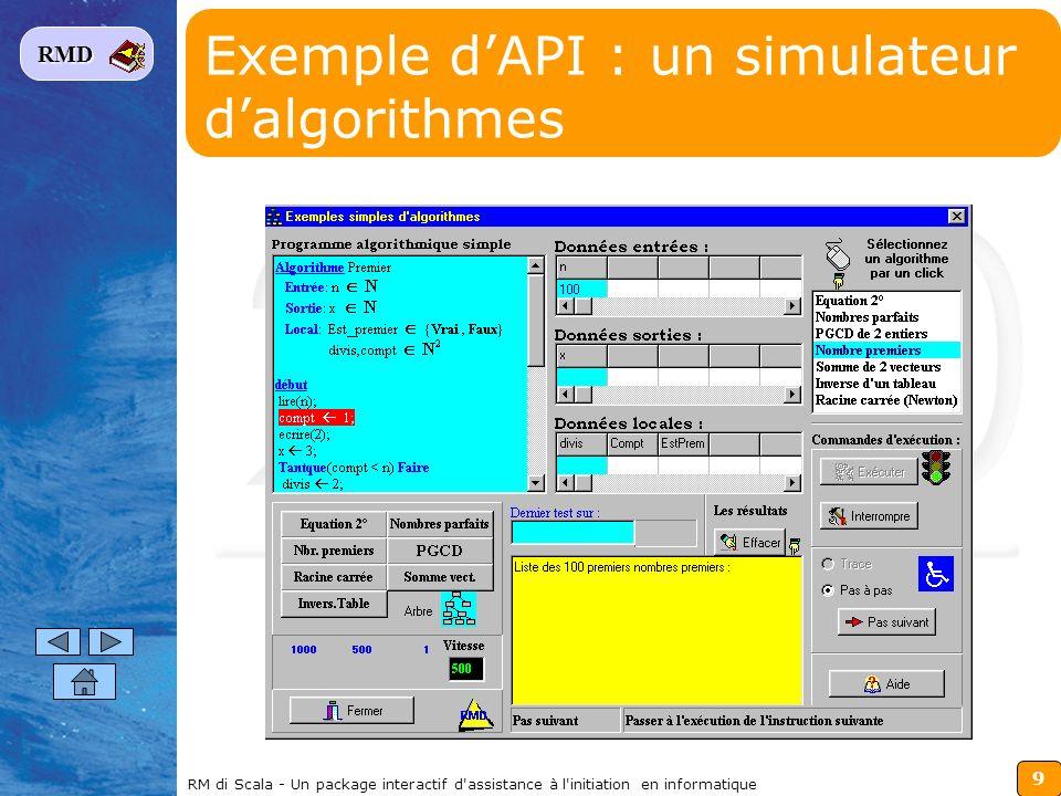 Exemple d'API : un simulateur d'algorithmes