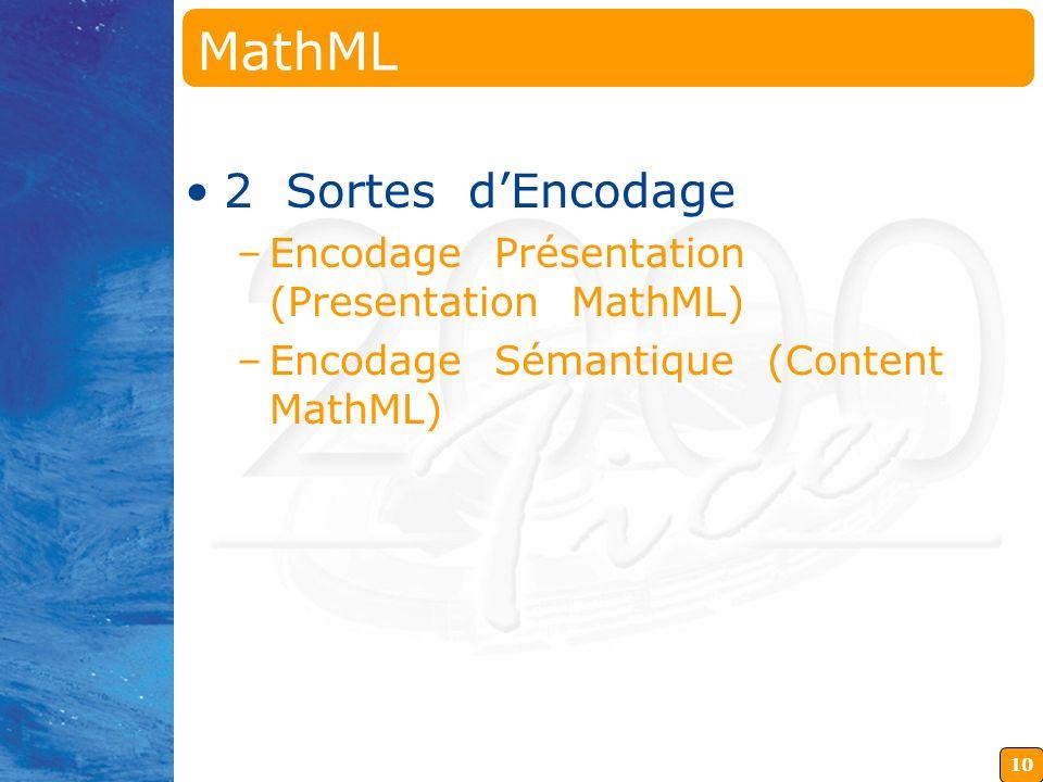 MathML 2 Sortes d'Encodage Encodage Présentation (Presentation MathML)
