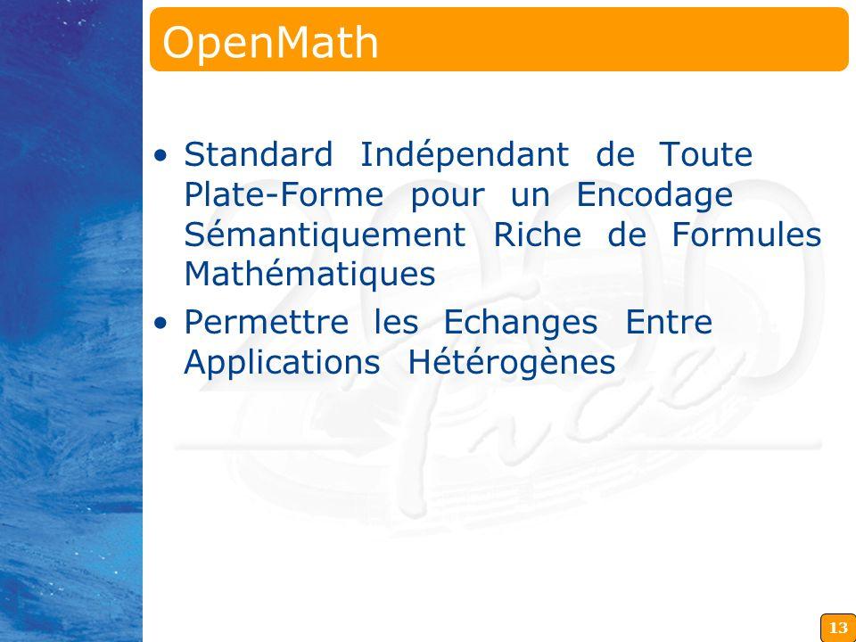 OpenMath Standard Indépendant de Toute Plate-Forme pour un Encodage Sémantiquement Riche de Formules Mathématiques.