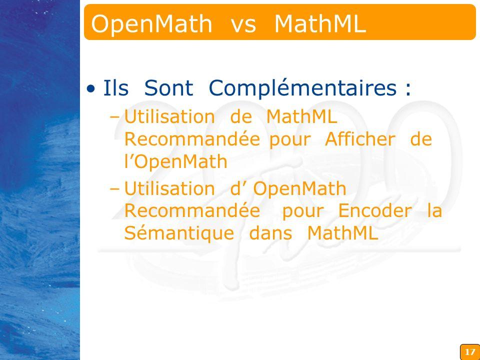 OpenMath vs MathML Ils Sont Complémentaires :