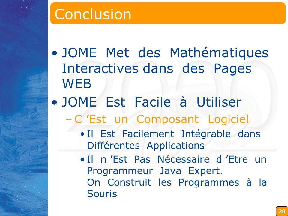 Conclusion JOME Met des Mathématiques Interactives dans des Pages WEB