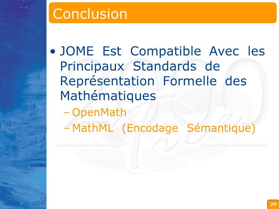 Conclusion JOME Est Compatible Avec les Principaux Standards de Représentation Formelle des Mathématiques.