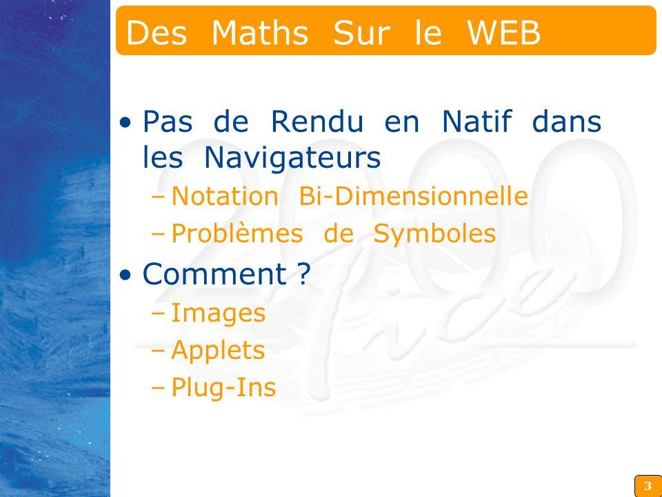 Des Maths Sur le WEB Pas de Rendu en Natif dans les Navigateurs