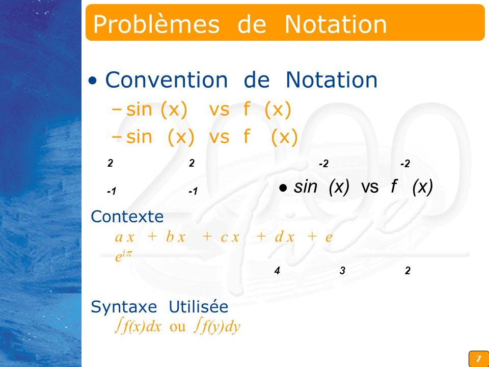 Problèmes de Notation Convention de Notation sin (x) vs f (x)
