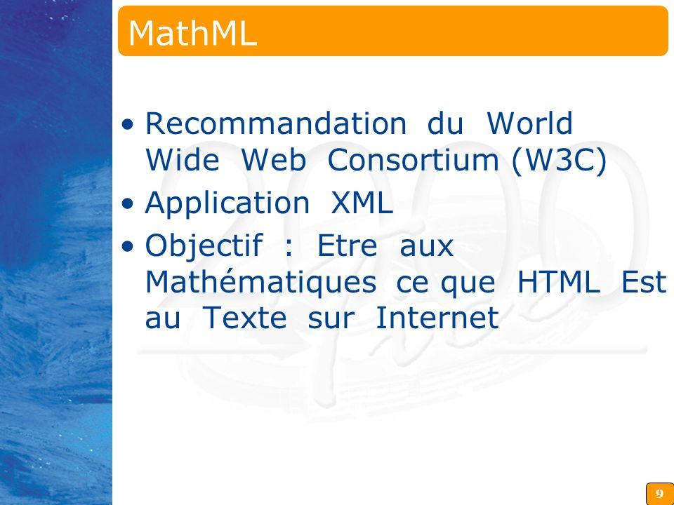 MathML Recommandation du World Wide Web Consortium (W3C)