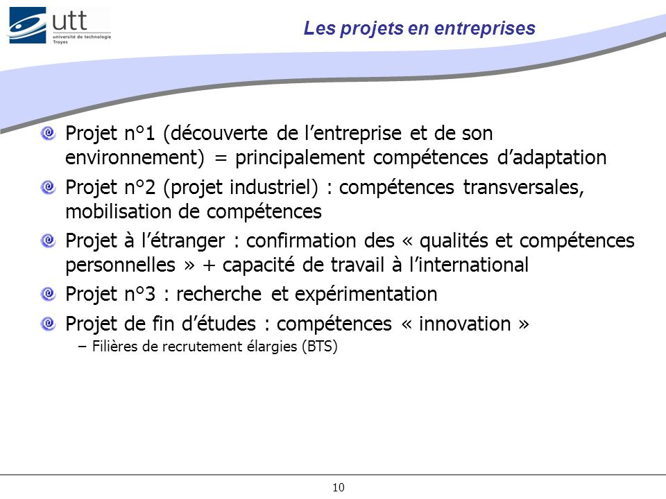 Les projets en entreprises