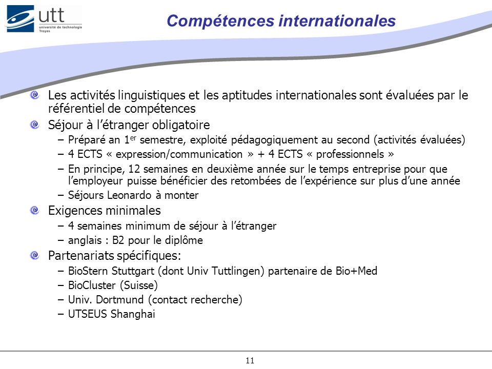 Compétences internationales
