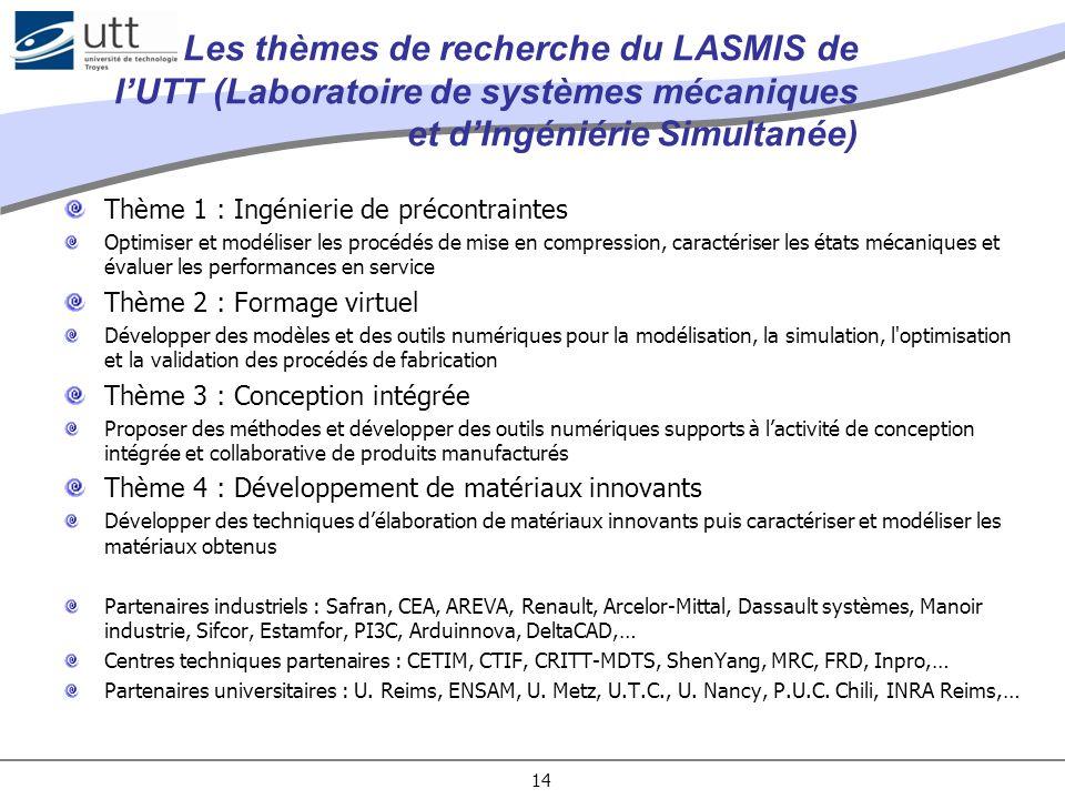 Les thèmes de recherche du LASMIS de l'UTT (Laboratoire de systèmes mécaniques et d'Ingéniérie Simultanée)