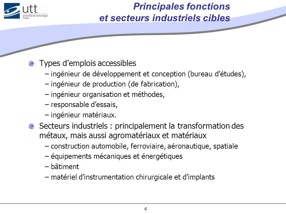 Principales fonctions et secteurs industriels cibles