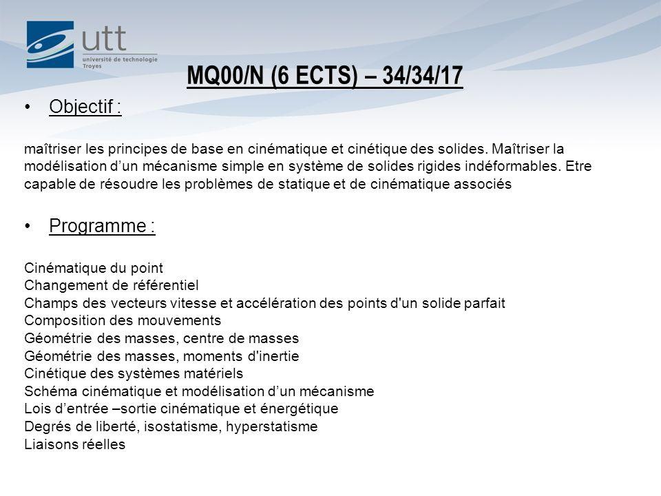 MQ00/N (6 ECTS) – 34/34/17 Objectif : Programme :