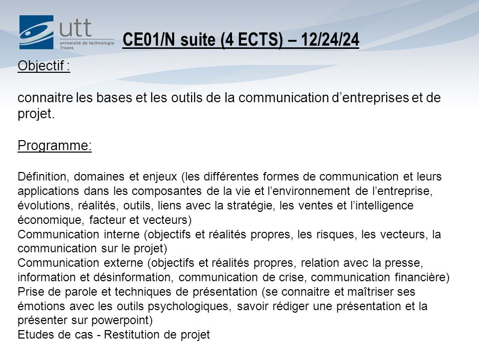 CE01/N suite (4 ECTS) – 12/24/24 Objectif :