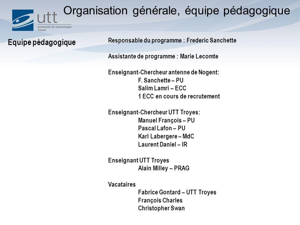 Organisation générale, équipe pédagogique
