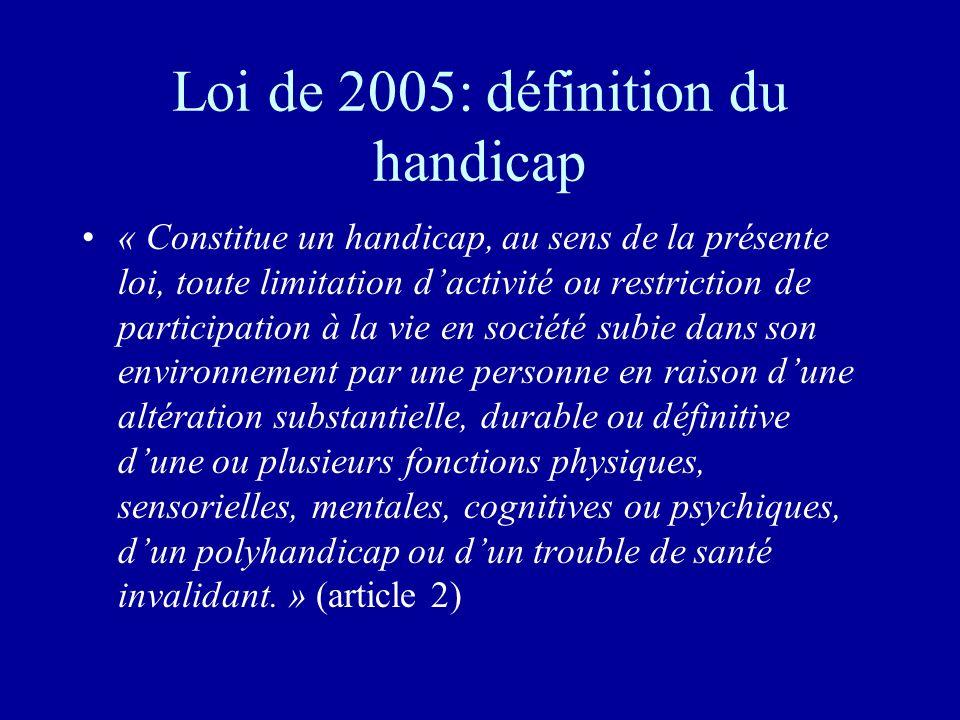 Loi de 2005: définition du handicap
