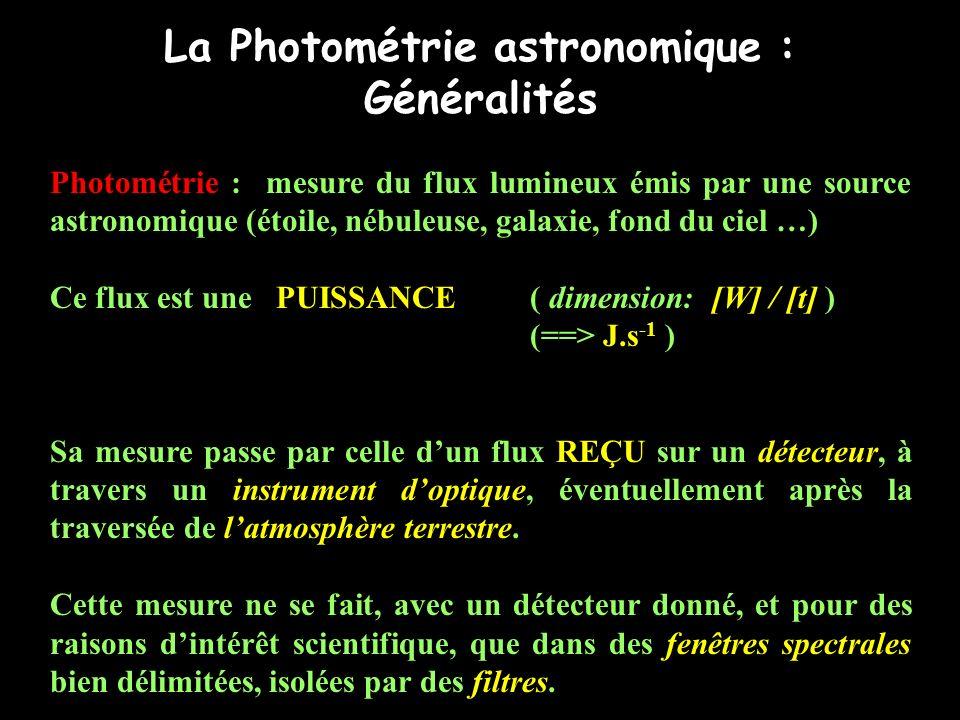 La Photométrie astronomique : Généralités