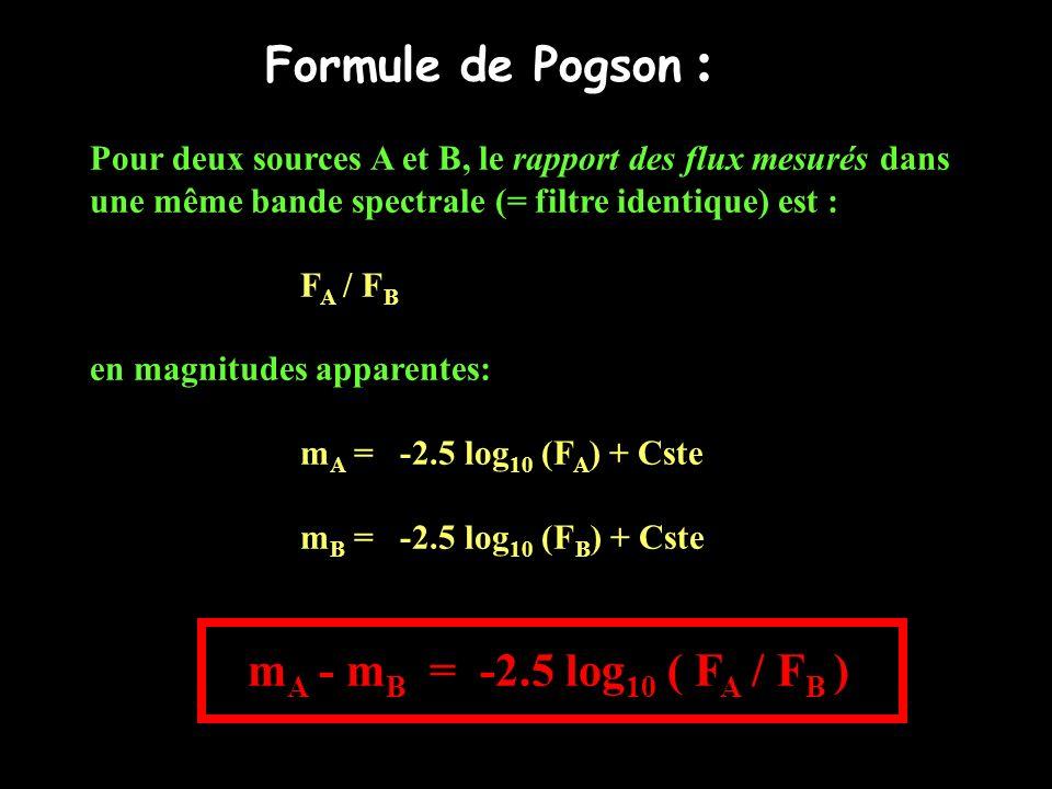 Formule de Pogson : Pour deux sources A et B, le rapport des flux mesurés dans. une même bande spectrale (= filtre identique) est :