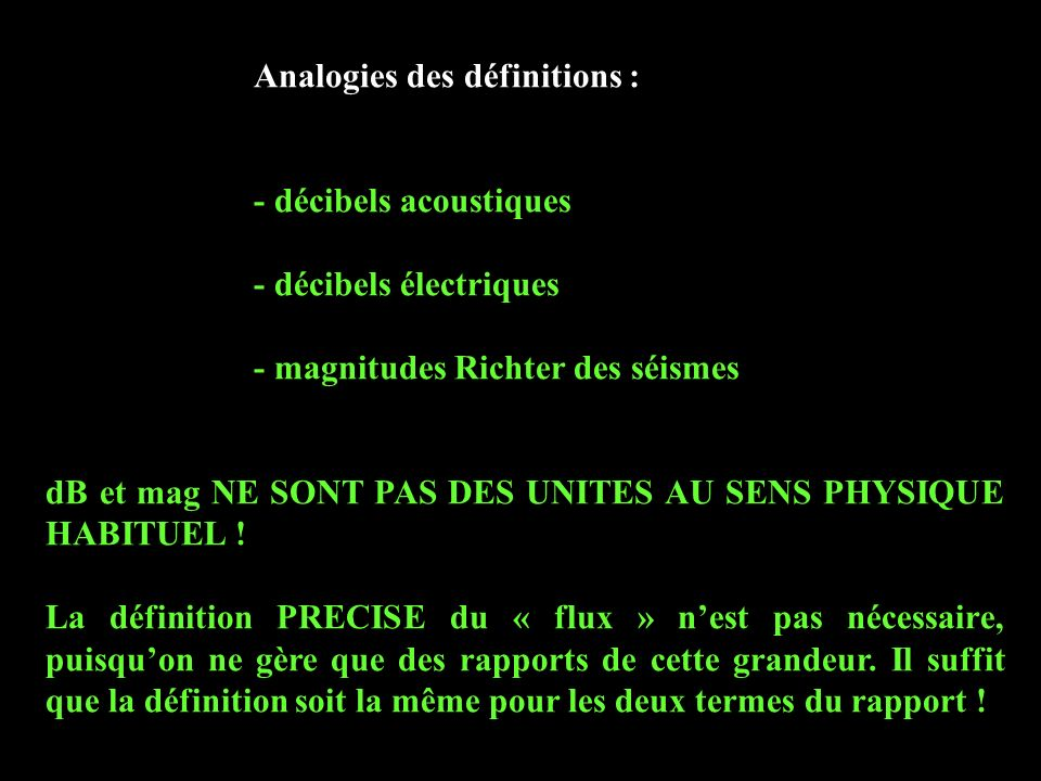 Analogies des définitions :