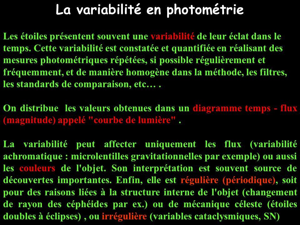 La variabilité en photométrie