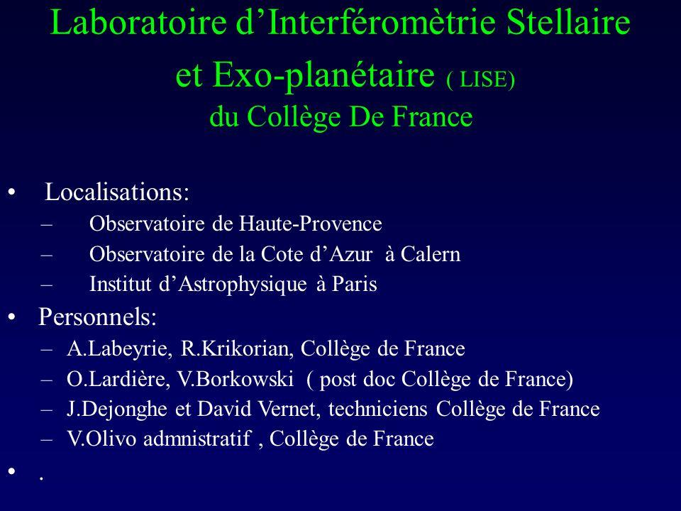 Laboratoire d'Interféromètrie Stellaire et Exo-planétaire ( LISE) du Collège De France