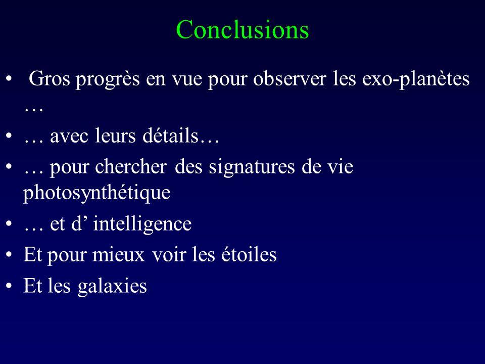Conclusions Gros progrès en vue pour observer les exo-planètes …