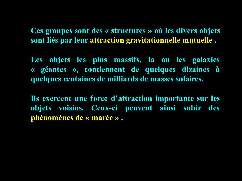 Ces groupes sont des « structures » où les divers objets sont liés par leur attraction gravitationnelle mutuelle .