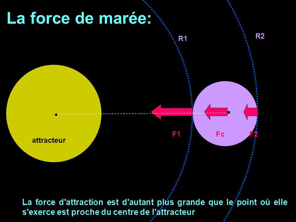 La force de marée: R2. R1. F1 Fc F2. attracteur.