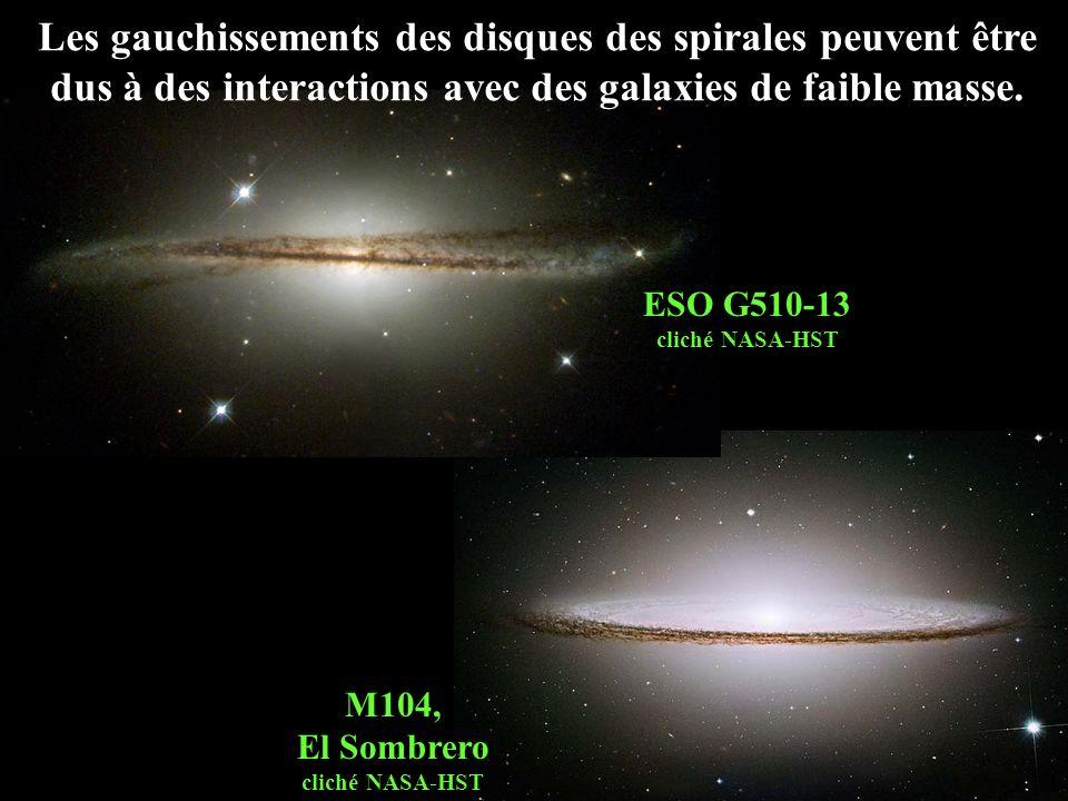 Les gauchissements des disques des spirales peuvent être dus à des interactions avec des galaxies de faible masse.